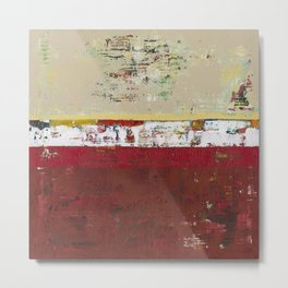 Buffalo Indian Red Burgundy Modern Abstract Art Metal Print