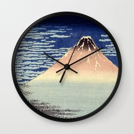 Red Fuji Mountain. Gaifû kaisei. Katsushika Hokusai. Ôban yoko-e Wall Clock