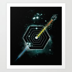 Space and Time Fragmentation Ship Art Print