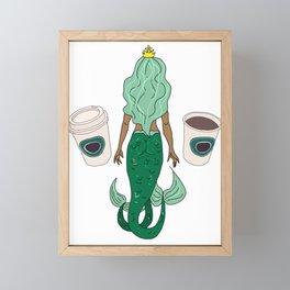 Mermaid Coffee Butt Dark - Fast Food Butts Framed Mini Art Print