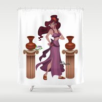 hercules Shower Curtains featuring Meg / Megara - Hercules by Teo Hoble