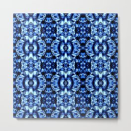 Flower Pattern Cobalt Blue Metal Print