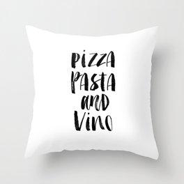 Pizza Pasta and Vino black and white typography poster black-white design home decor kitchen wall Throw Pillow