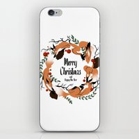 merry christmas iPhone & iPod Skins featuring Merry Christmas by Anya Volk