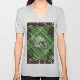 Football Helmet and Players over a Field Unisex V-Neck