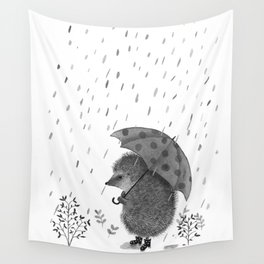 Hedgehog in Rain Boots on a Grey Rainy Day Book Illustration Wall Tapestry