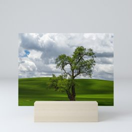 Single Tree in Green Field Mini Art Print