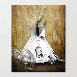 American Tribal Indian Teepee, Horse and Warrior Fine Art Photography print  Canvas Print