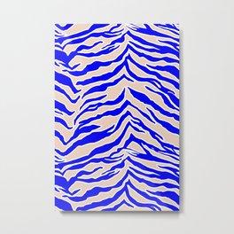 Tiger Print - Cobalt Blue Metal Print