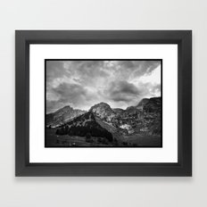 Mountains are rocky pillows for exhausted clouds... Framed Art Print