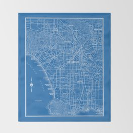 Los Angeles Street Map Throw Blanket