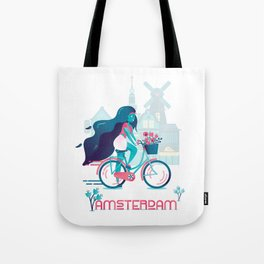 Cycling tulip of Amsterdam Tote Bag
