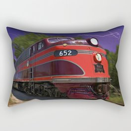 Rock Island Rocket Streamliner Passenger Train in Night Thunderstorm Rectangular Pillow