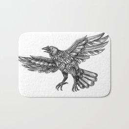 Raven Flying Up Geometric Mandala Tattoo Bath Mat