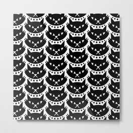 Mid Century Modern Cat Black & White Metal Print