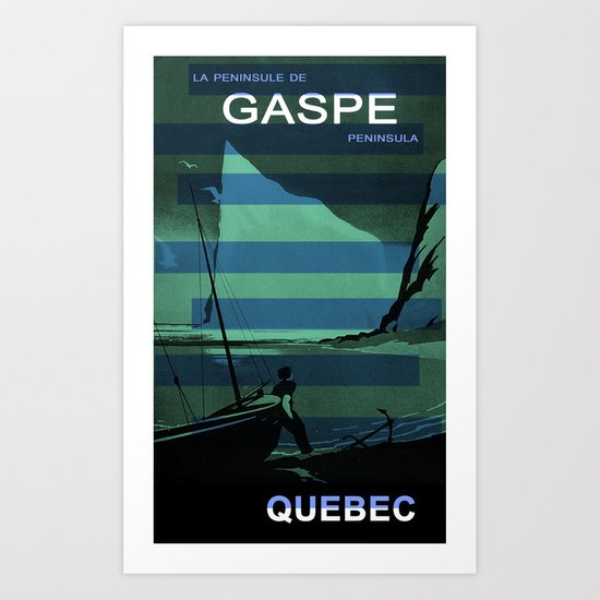 Gaspe Quebec Sailboat Vintage Advertising Collage Art Print