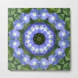 Heavenly Blue Morning Glory mandala 1058 Metal Print