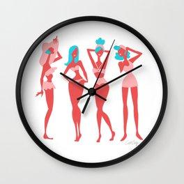 Beach Bombshells – Cyan & Coral Palette Wall Clock