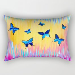 Butterflies and Abstract Colours Rectangular Pillow