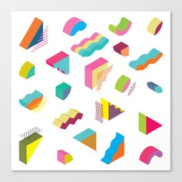 blocks isometric Color Design elements in the Memphis style Canvas Print