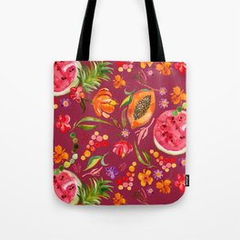 Tropical Fruit Festival in Red | Frutas Tropicales en Rojo Tote Bag
