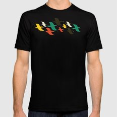 Birds are flying LARGE Mens Fitted Tee Black