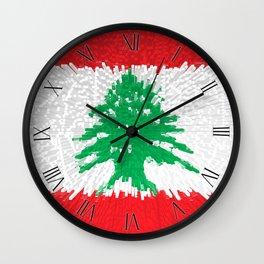 Extruded flag of Lebanon Wall Clock
