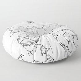 Soccer Ball Patent - Football Art - Black And White Floor Pillow