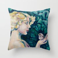 sparrow Throw Pillows featuring Sparrow by Kristina Gufo