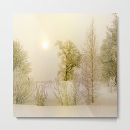 Golden Winter Forest Metal Print