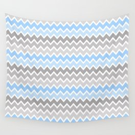 Grey Gray Blue Ombre Chevron Wall Tapestry