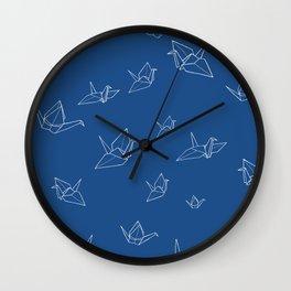 Paper Cranes (Classic Blue) Wall Clock