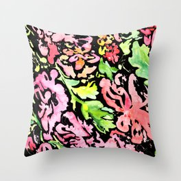 flora series xv in black Throw Pillow