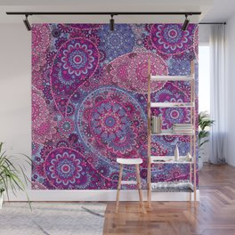 Paisley Patterns in Party Purples, Pinks, and Reds Wall Mural