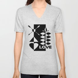 Scandinavian black and white abstract pattern . Unisex V-Neck