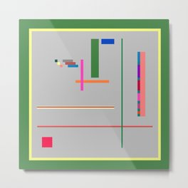 A Few Colors with Lines and Rectangles and Squares Metal Print