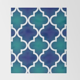 Quatrefoil - Teal and Blue Ombre Throw Blanket