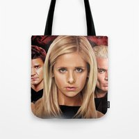 buffy Tote Bags featuring Buffy The Vampire Slayer  by SB Art Productions