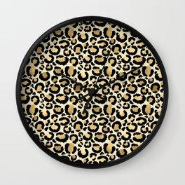 Gold Leopard Print Wall Clock