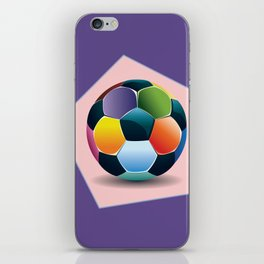 Soccer ball inside pink pentagon iPhone Skin