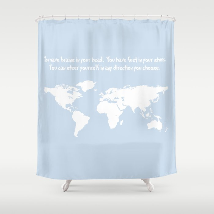 Dr Seuss Inspirational Quote With Earth Outline Shower Curtain By Dustinhall