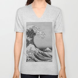 Black & White Japanese Great Wave off Kanagawa by Hokusai Unisex V-Neck