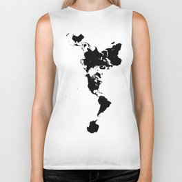Dymaxion World Map (Fuller Projection Map) - Minimalist Black on White Biker Tank