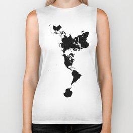 Dymaxion World Map (Fuller Projection Map) - Minimalist Black on White Biker Tank