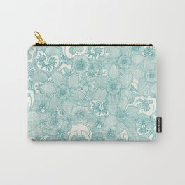 springtime flowers teal Carry-All Pouch