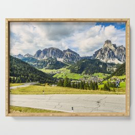 on the roads of dolomites Serving Tray