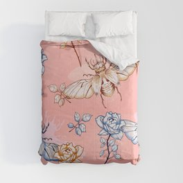 Roses and beetles retro pattern Comforters