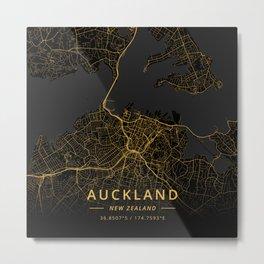 Auckland, New Zealand - Gold Metal Print