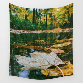 Autumn Leaf in Water (Color) Wall Tapestry