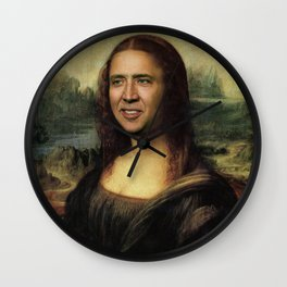 Nicholas Cage Mona Lisa face swap Wall Clock